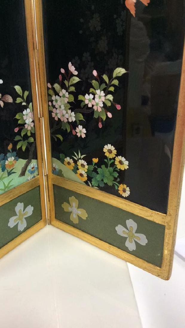 Vintage Japanese Enamel Cloisonné Folding Screen - 3