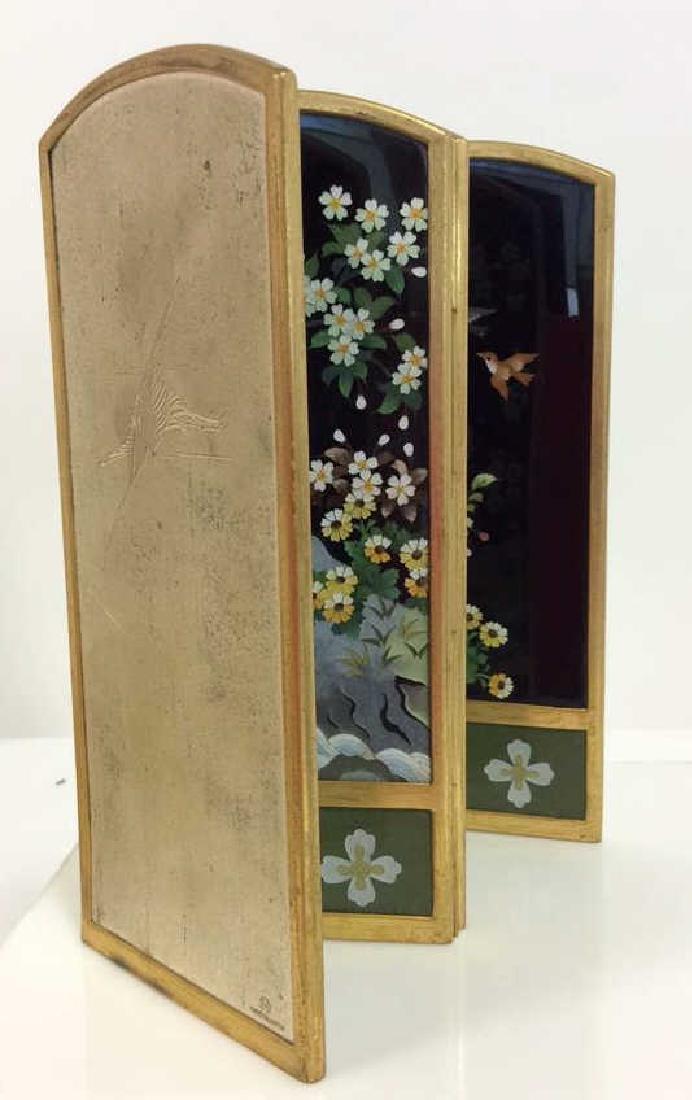 Vintage Japanese Enamel Cloisonné Folding Screen - 5