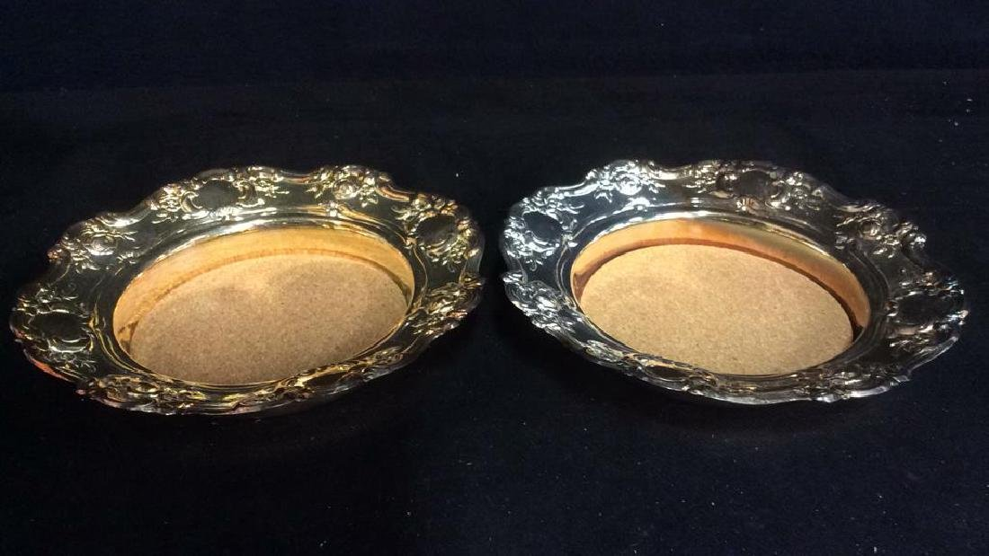 Pair TOWLE Silverplated Wine Coasters - 2