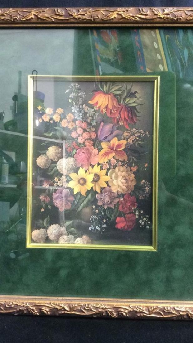 Framed & Matted Floral Print Artwork - 2