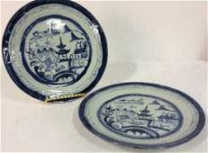 Pair Antique Chinese Export Canton Plates