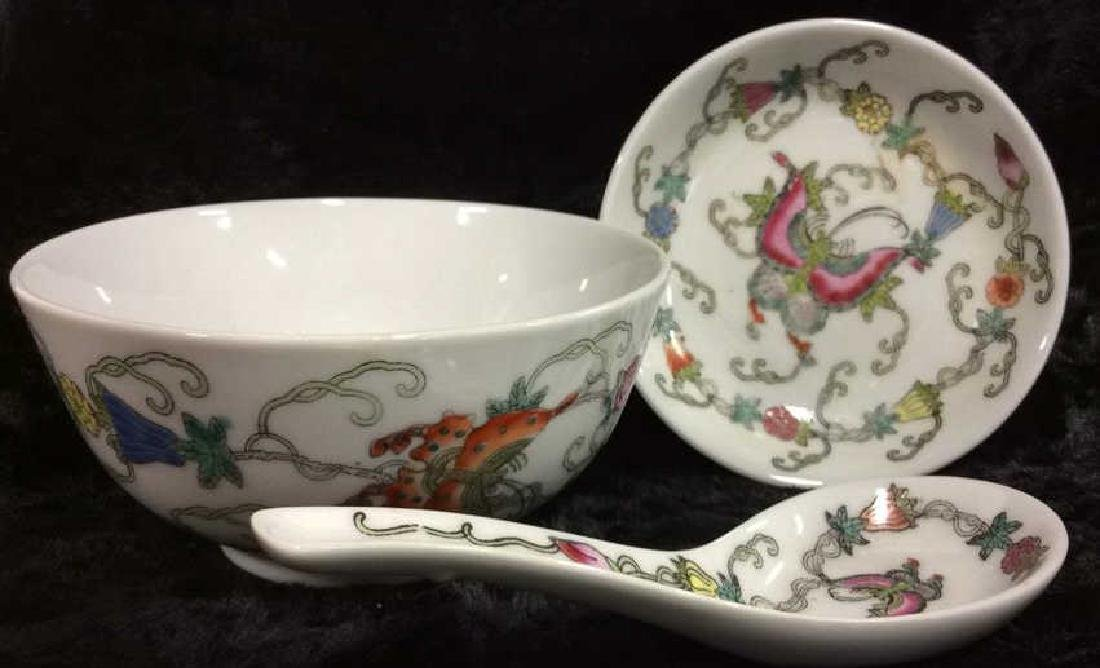 Set 3 Chinese Painted Porcelain Dishes