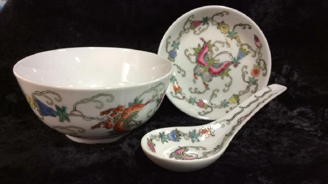 Set 3 Chinese Painted Porcelain Dishes - 2