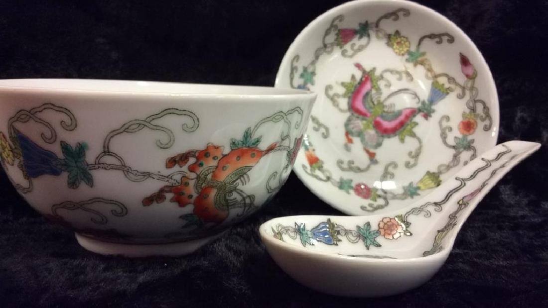 Set 3 Chinese Painted Porcelain Dishes - 3
