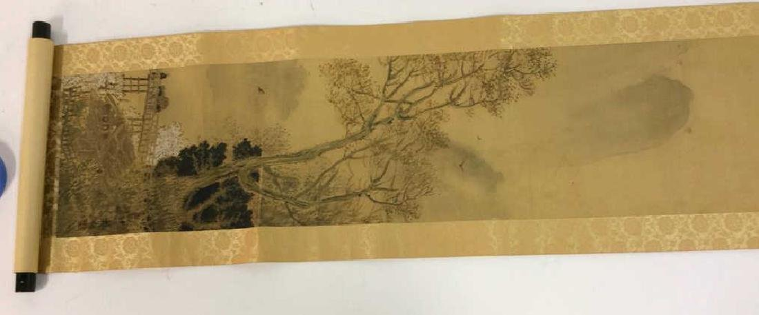 Asian Painted Fabric Hanging Scroll