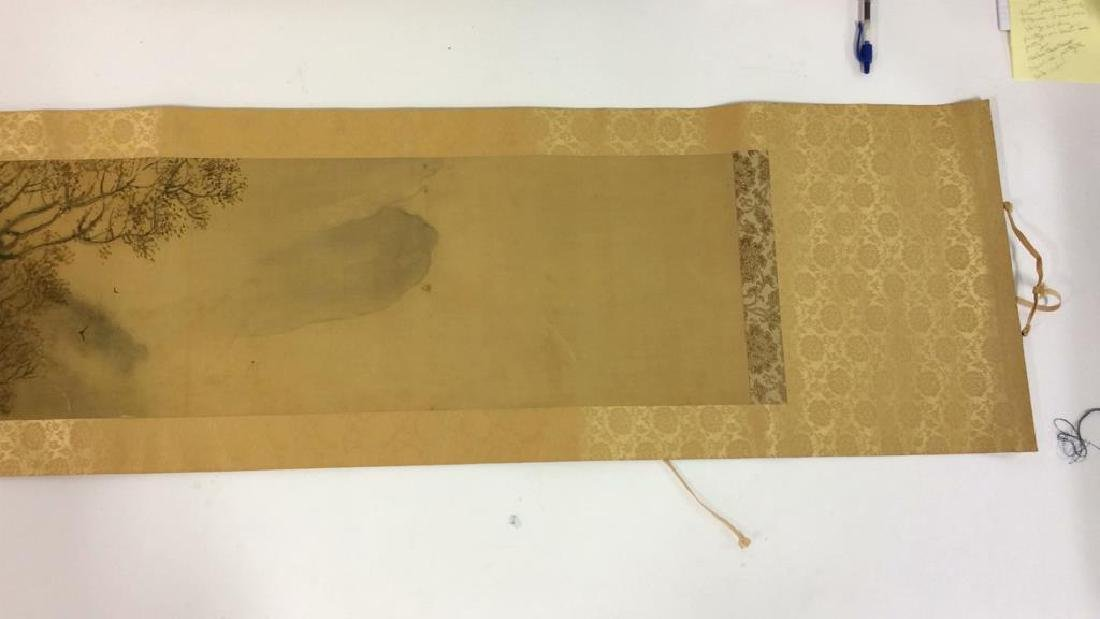Asian Painted Fabric Hanging Scroll - 2