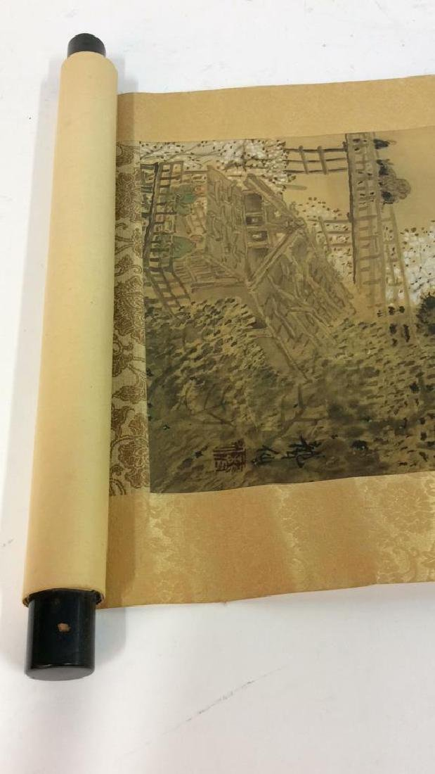 Asian Painted Fabric Hanging Scroll - 4