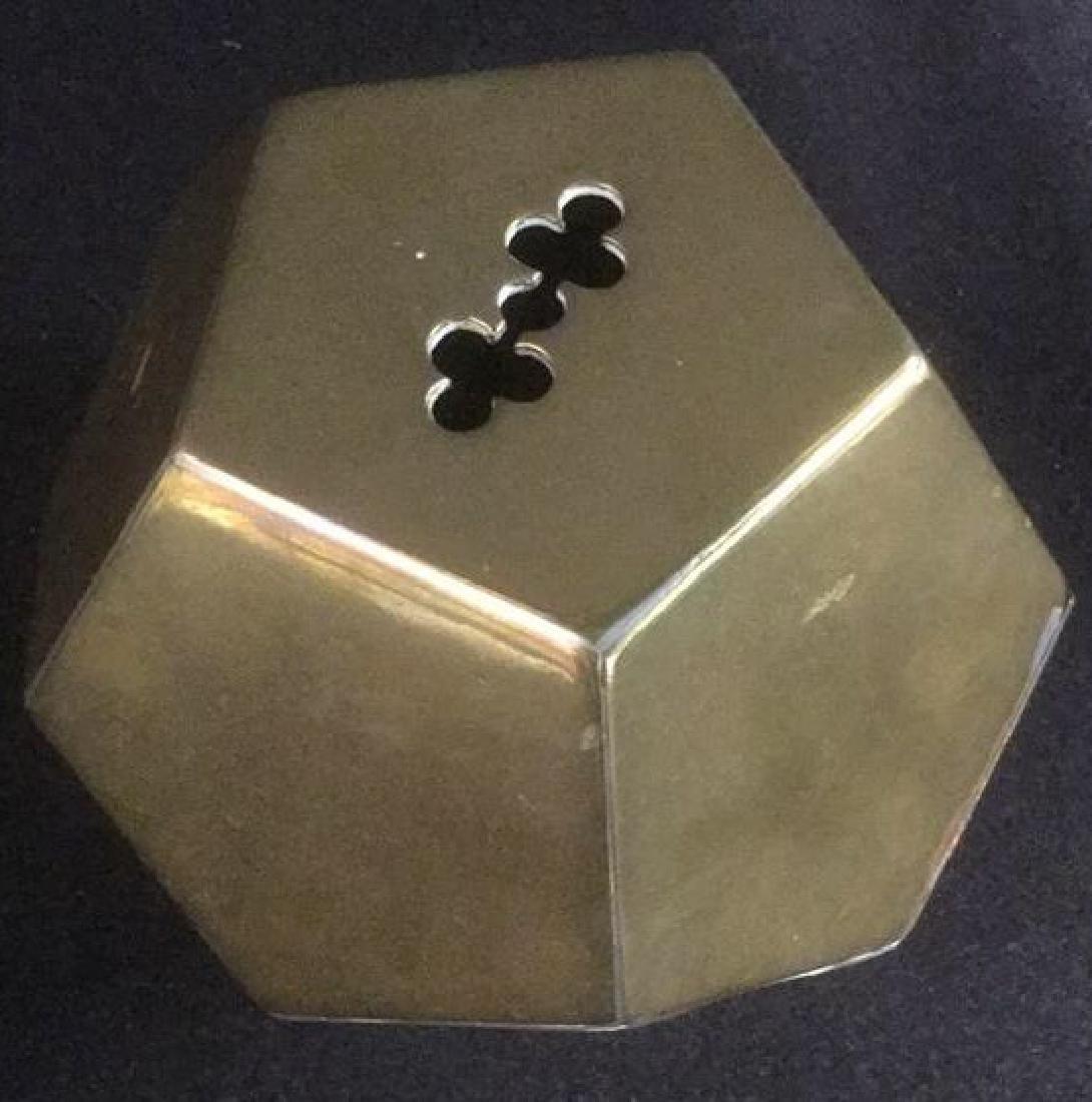 Brass Desk Top 3-D Pentagon Form Paperclip Holder