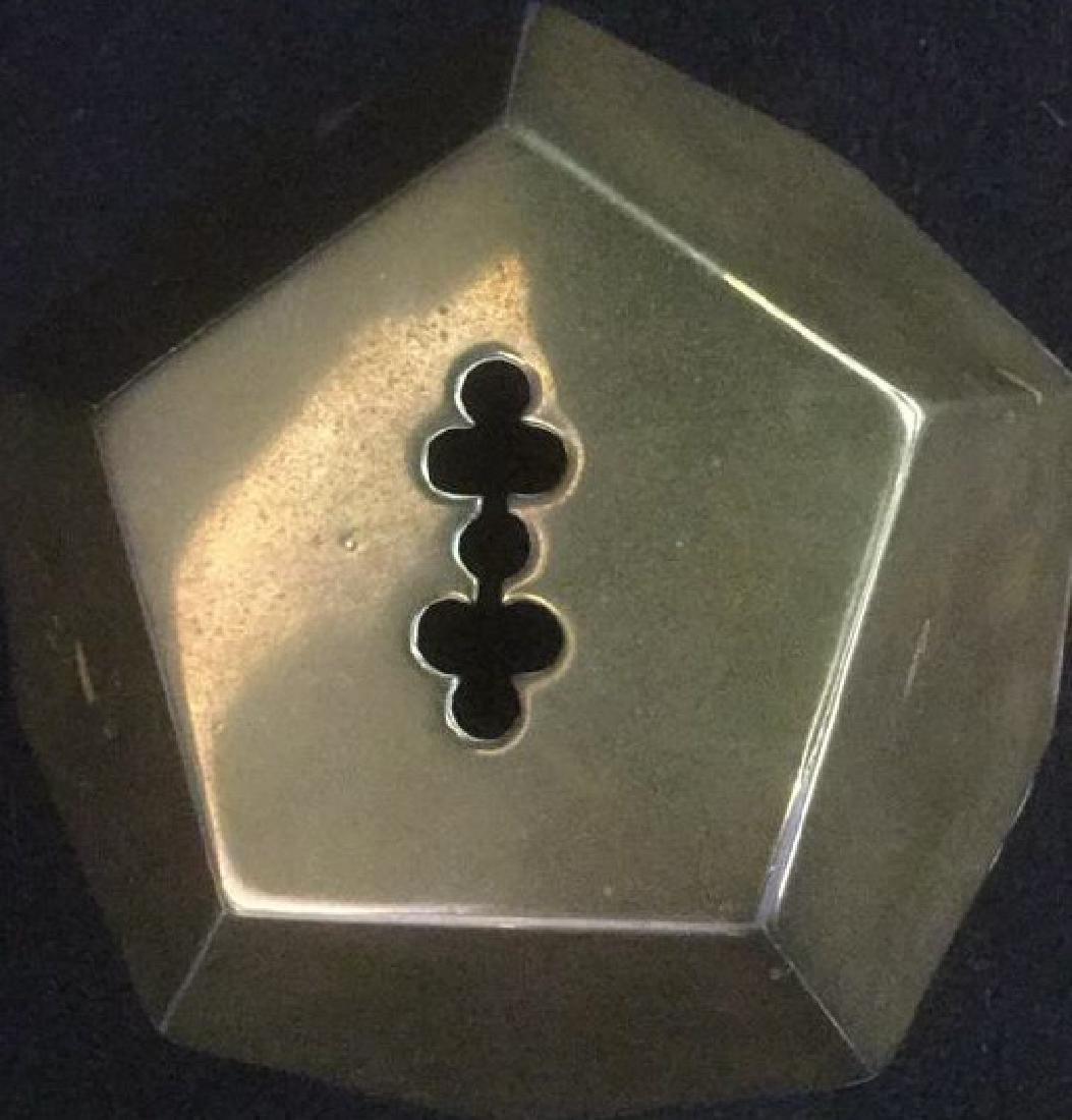 Brass Desk Top 3-D Pentagon Form Paperclip Holder - 2