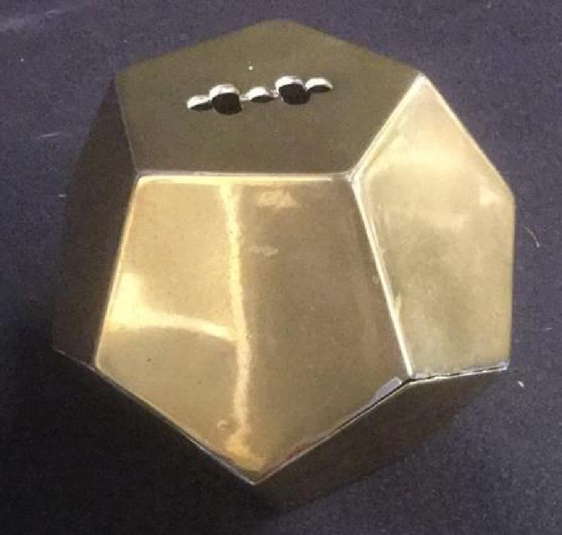Brass Desk Top 3-D Pentagon Form Paperclip Holder - 3