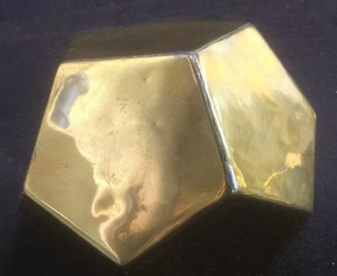 Brass Desk Top 3-D Pentagon Form Paperclip Holder - 4