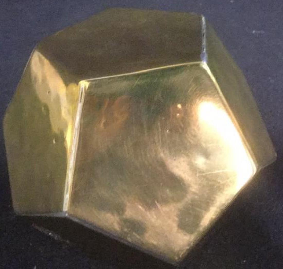 Brass Desk Top 3-D Pentagon Form Paperclip Holder - 5