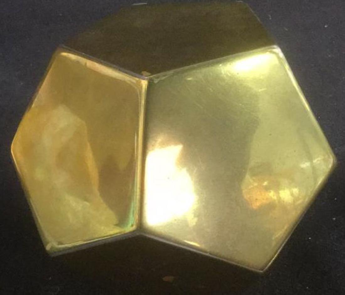 Brass Desk Top 3-D Pentagon Form Paperclip Holder - 6