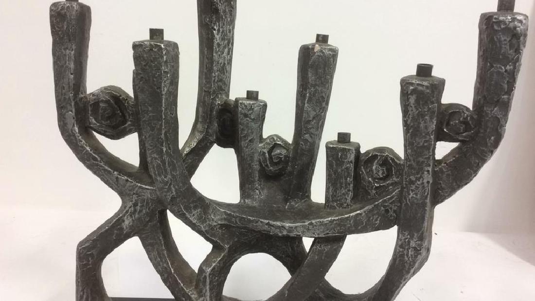Artist Signed Metal Sculpted Menorah - 2