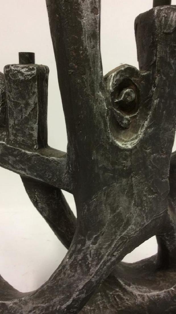 Artist Signed Metal Sculpted Menorah - 8