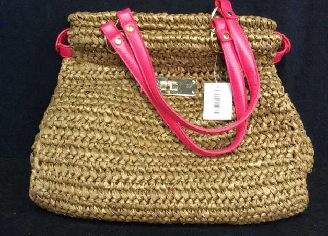 Laugoa Woven and Leather Hand Bag Purse