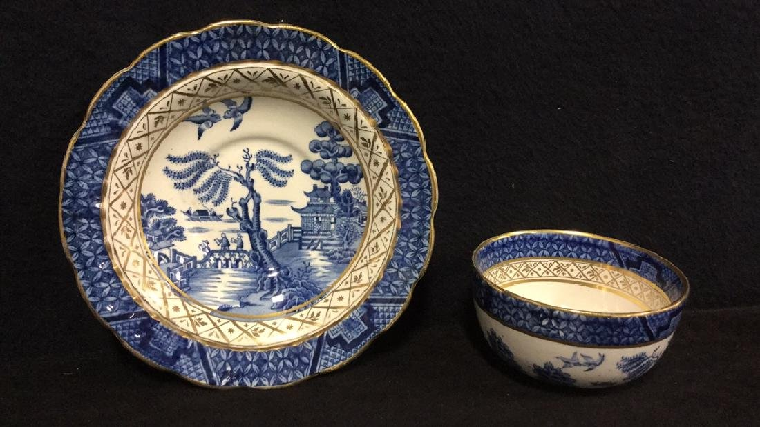 Lot 2 English Booths Real Old Willow Bowl & Dish
