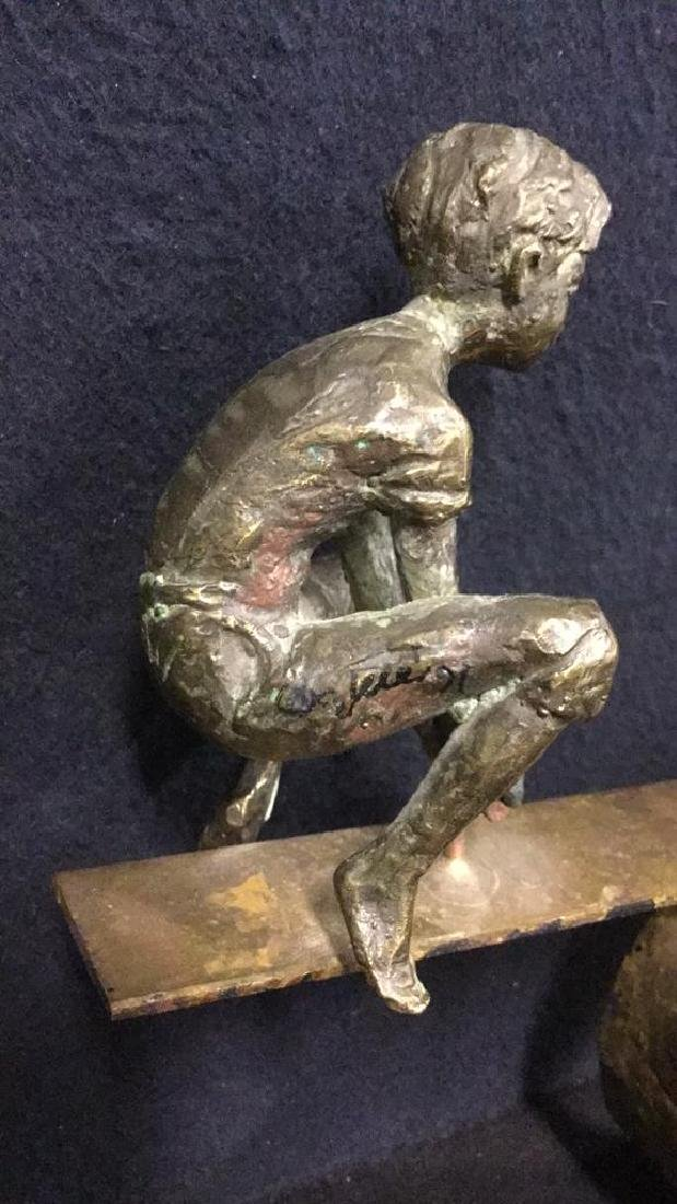 Cast Metal Sculpture Of Two Boys On A Seesaw - 4