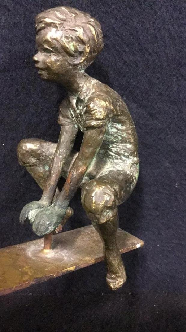 Cast Metal Sculpture Of Two Boys On A Seesaw - 5