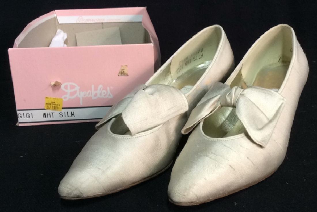 Vintage DYEABLES Silk Shoes w Bows & Original Box