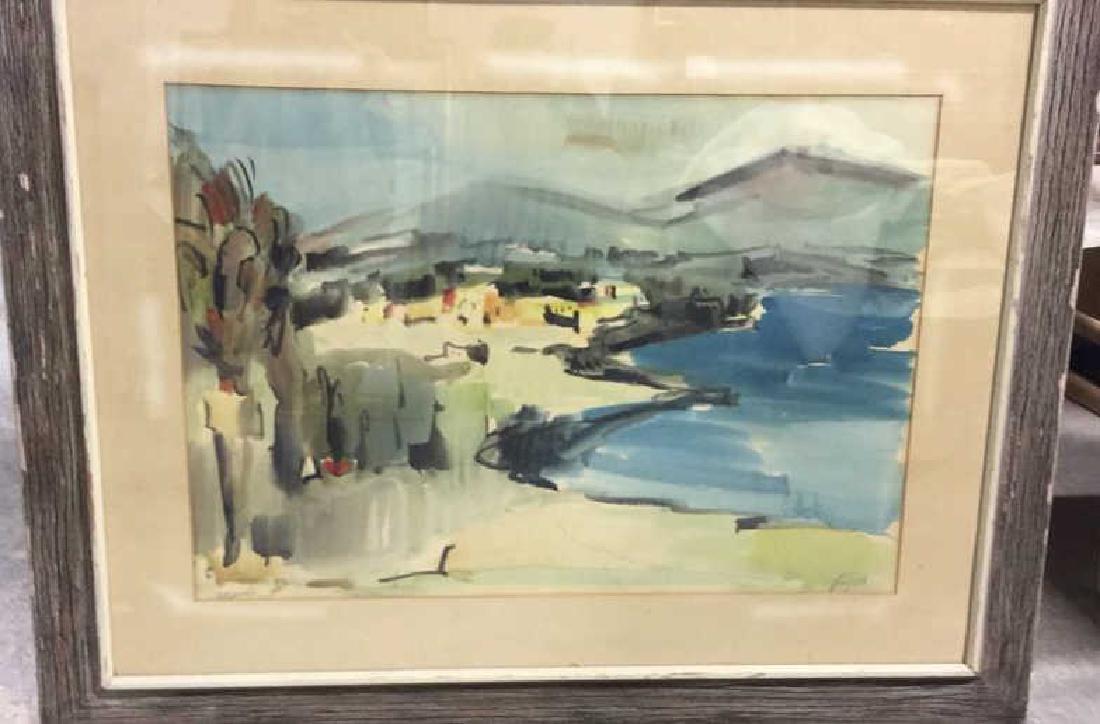Signed Drift Wood Framed Watercolor Harbor Scene - 3
