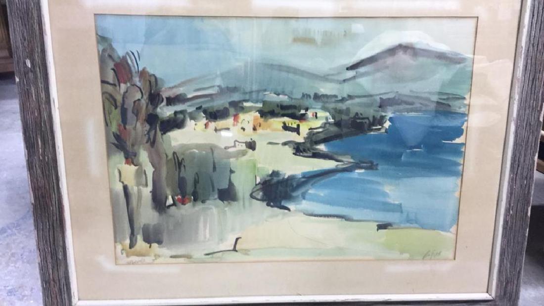 Signed Drift Wood Framed Watercolor Harbor Scene - 4