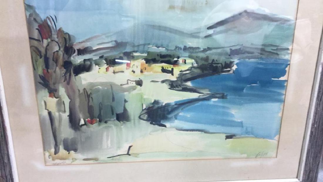 Signed Drift Wood Framed Watercolor Harbor Scene - 5