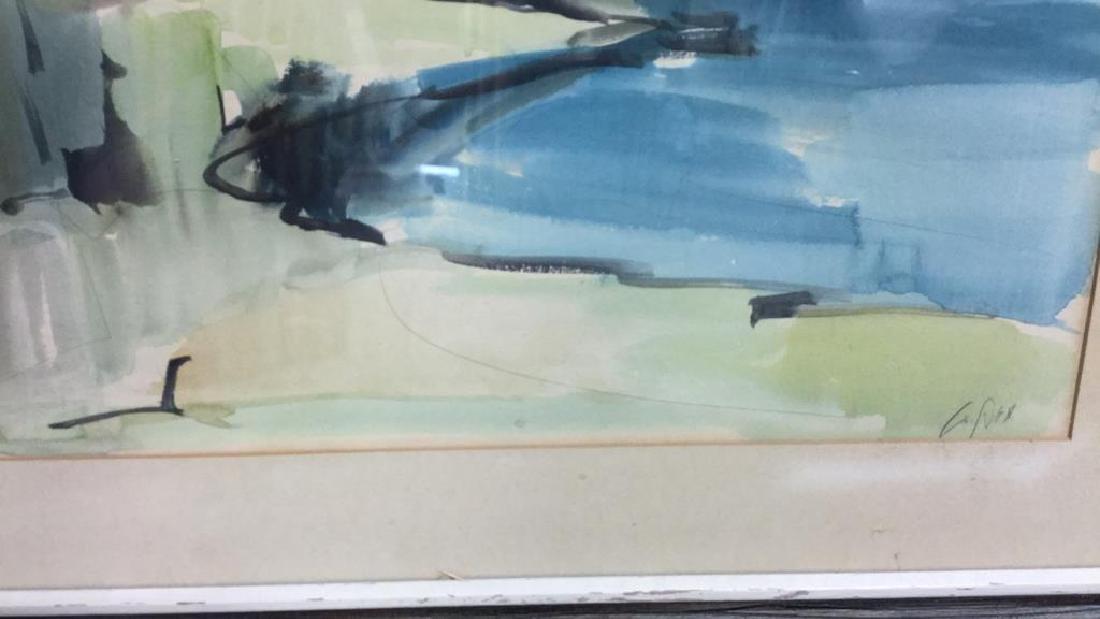 Signed Drift Wood Framed Watercolor Harbor Scene - 7