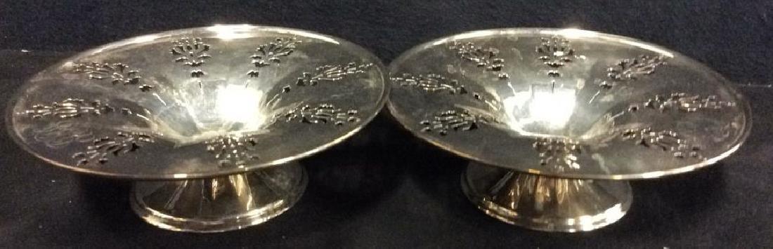 Pair Pierced Silver Plate  PEDESTAL bowls