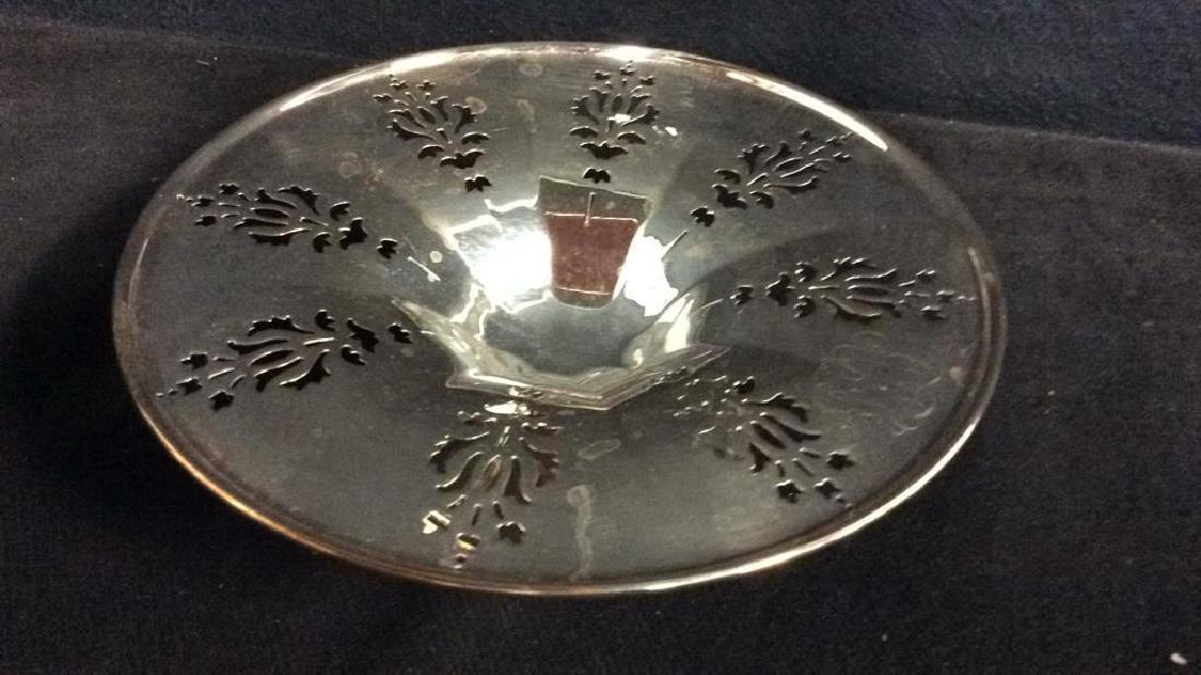 Pair Pierced Silver Plate  PEDESTAL bowls - 5