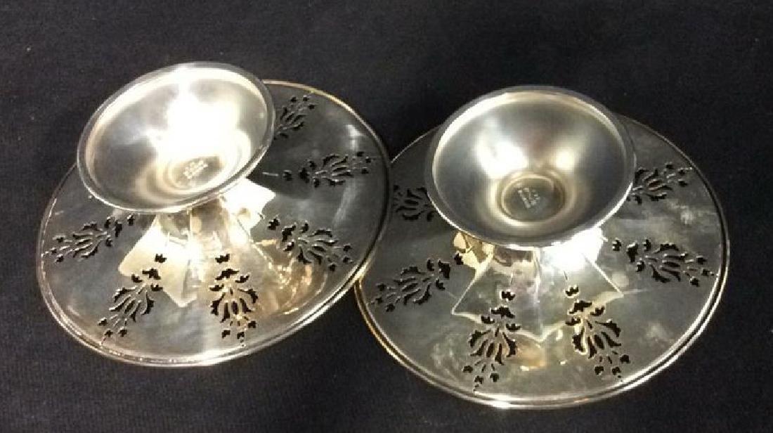 Pair Pierced Silver Plate  PEDESTAL bowls - 7