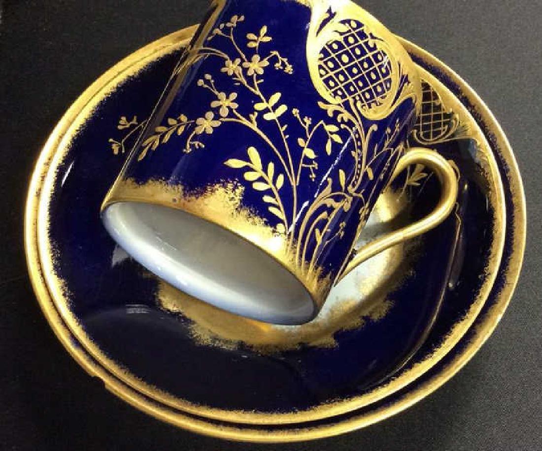 Blue Gold Porcelain Tea Cup Saucer Plate