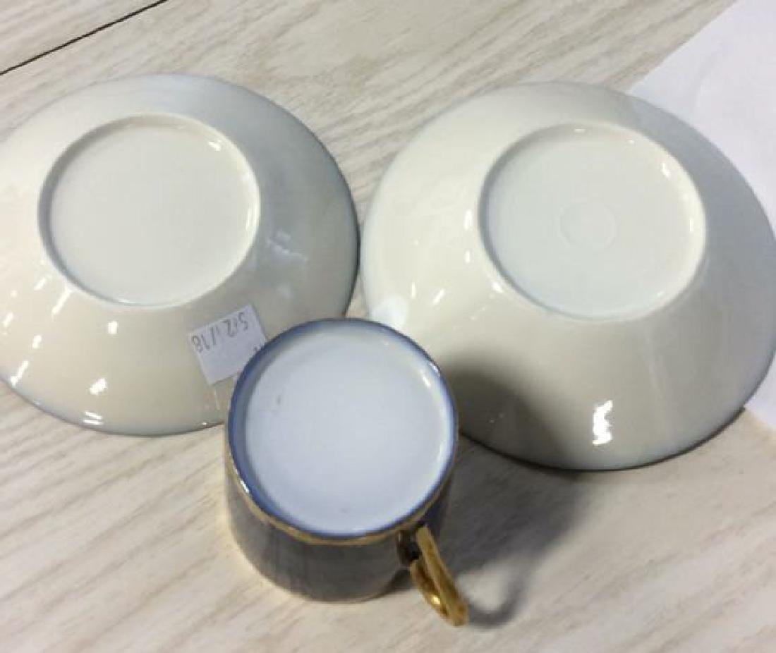 Blue Gold Porcelain Tea Cup Saucer Plate - 6