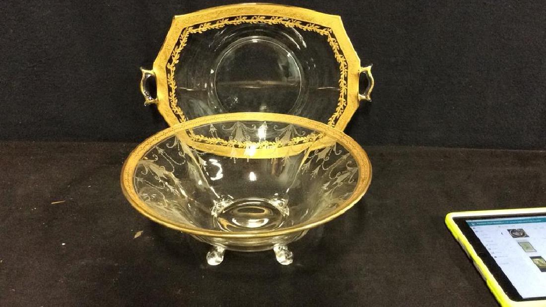 Gold Rimmed Vintage Glass Bowl w Under plate