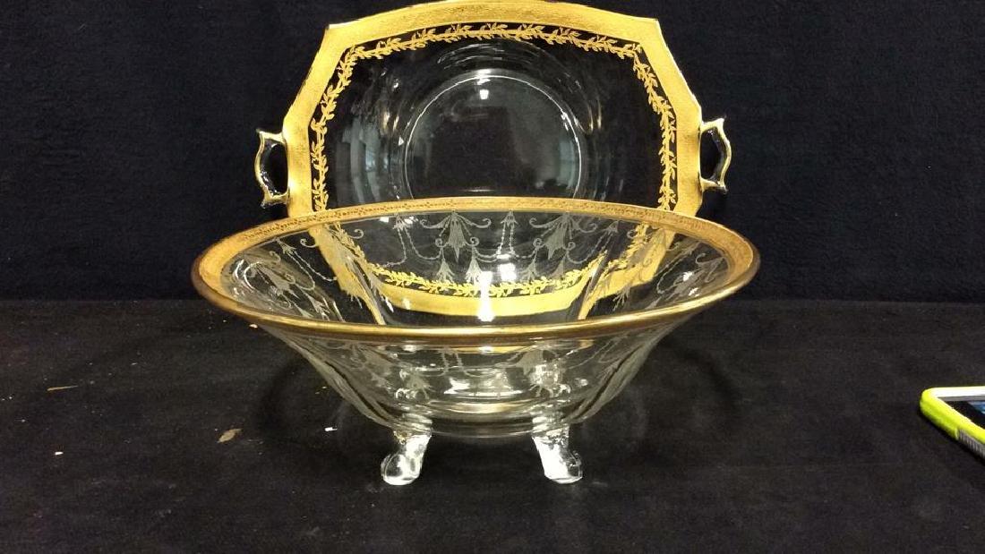 Gold Rimmed Vintage Glass Bowl w Under plate - 2