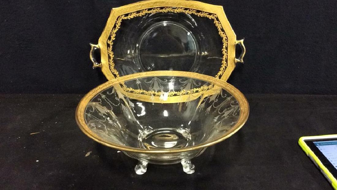 Gold Rimmed Vintage Glass Bowl w Under plate - 3
