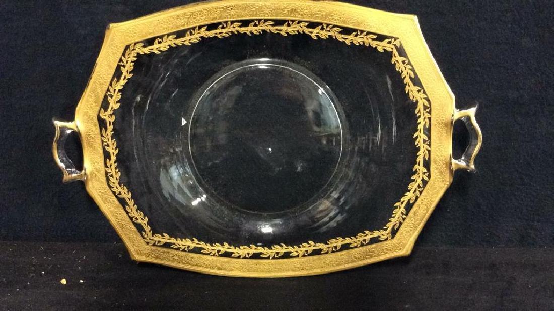 Gold Rimmed Vintage Glass Bowl w Under plate - 4