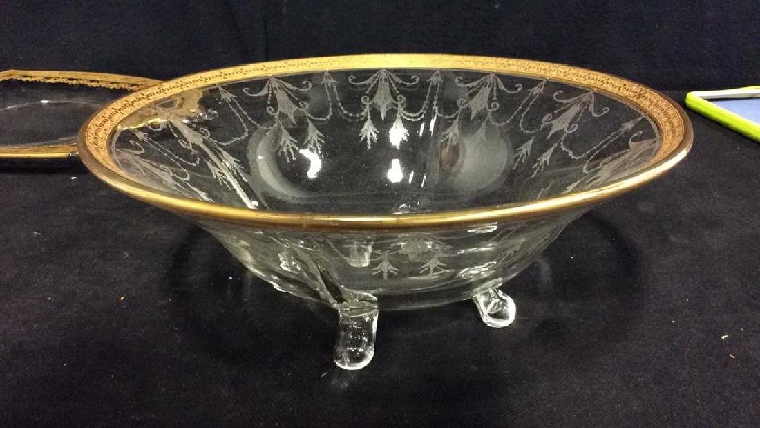 Gold Rimmed Vintage Glass Bowl w Under plate - 5