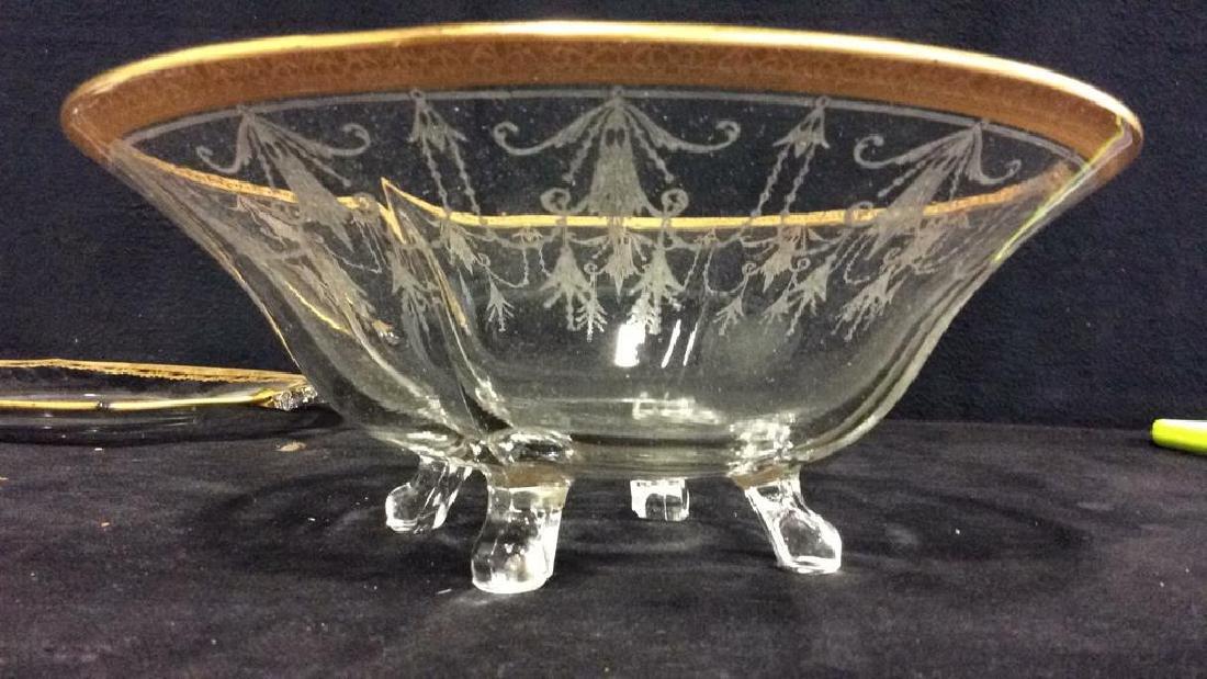 Gold Rimmed Vintage Glass Bowl w Under plate - 6