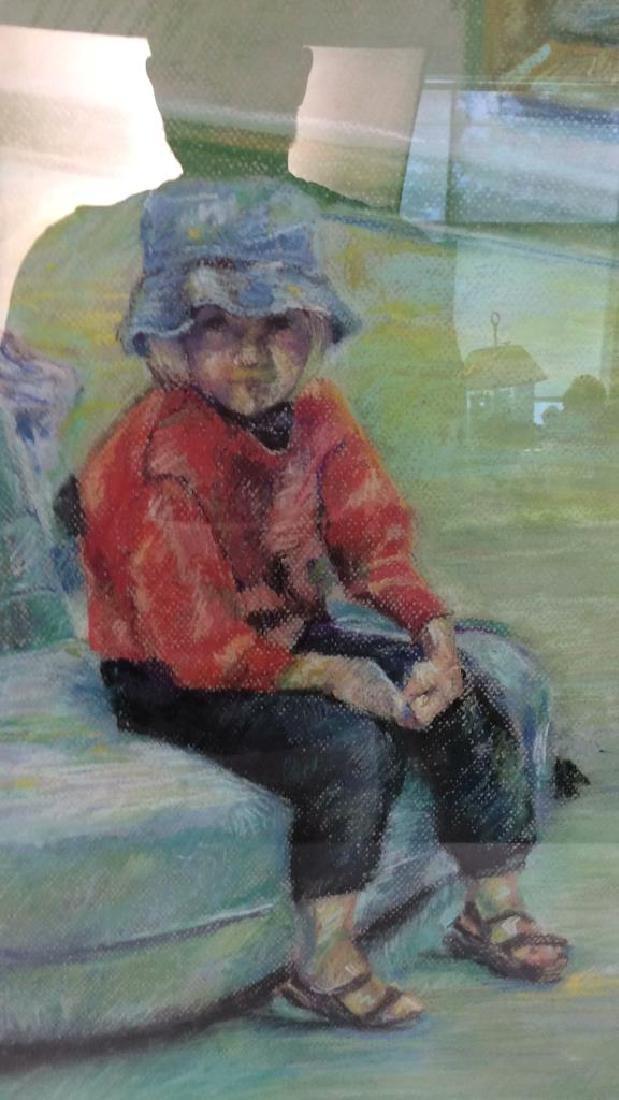 LASKY Framed Pastel Artwork of Child