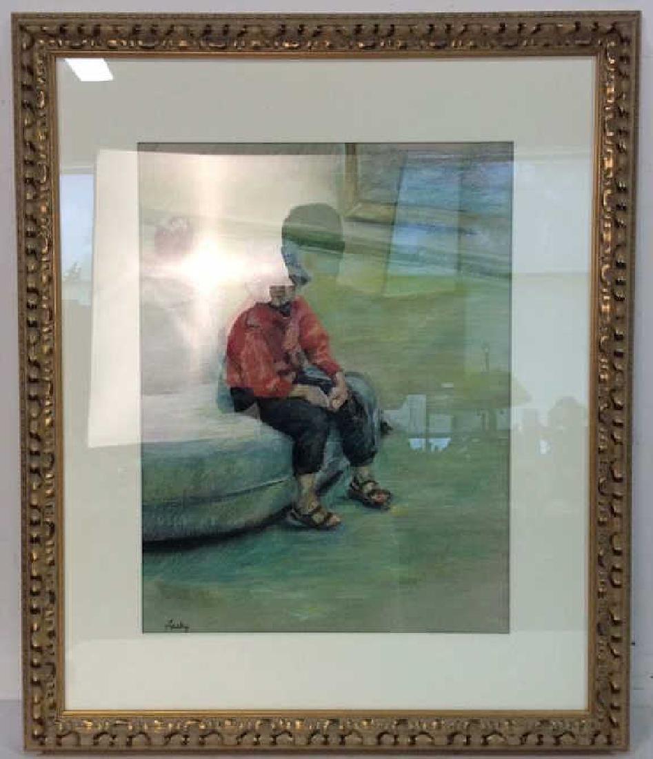 LASKY Framed Pastel Artwork of Child - 2