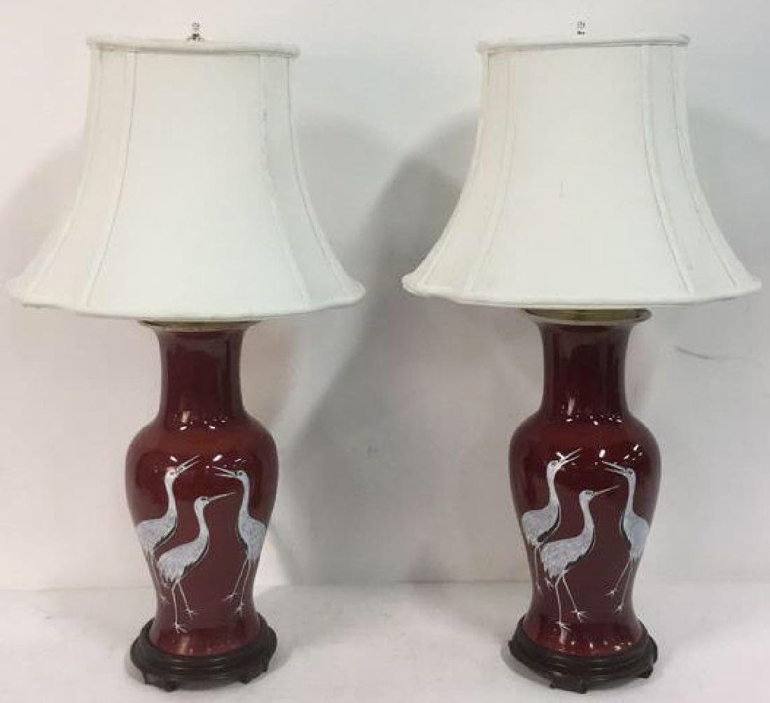 Pair Signed Chinese Porcelain Ceramic Lamps - 2