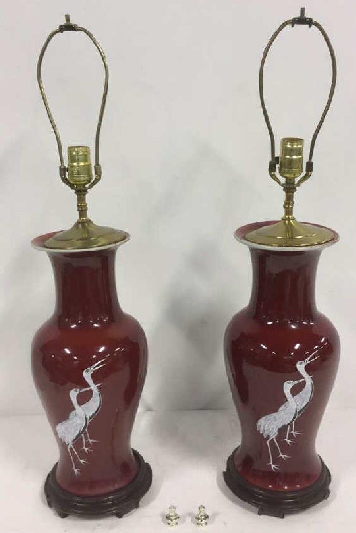 Pair Signed Chinese Porcelain Ceramic Lamps - 9