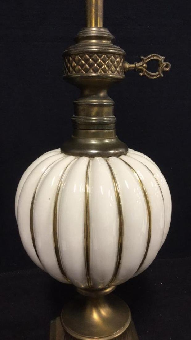 Brass Toned Metal And Ceramic Table Lamp