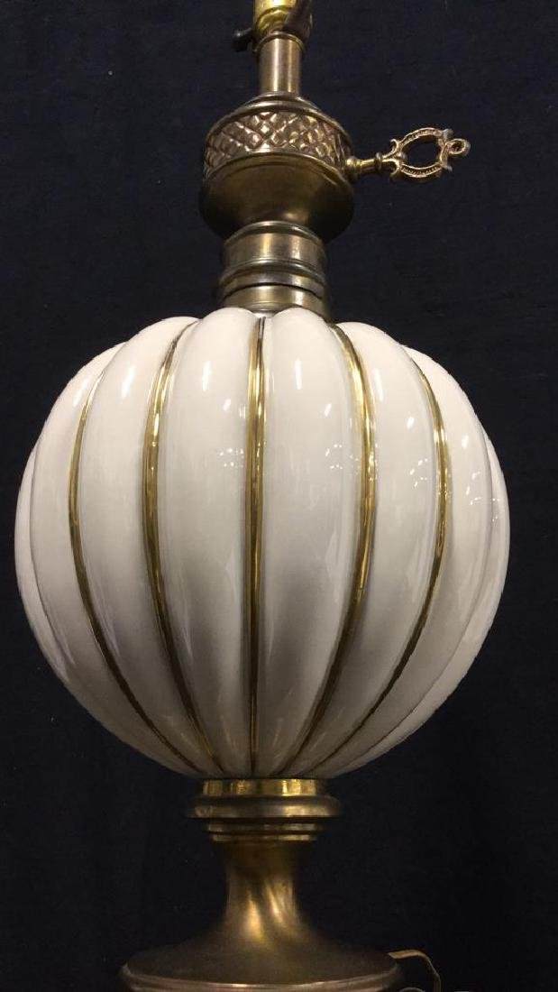 Brass Toned Metal And Ceramic Table Lamp - 8