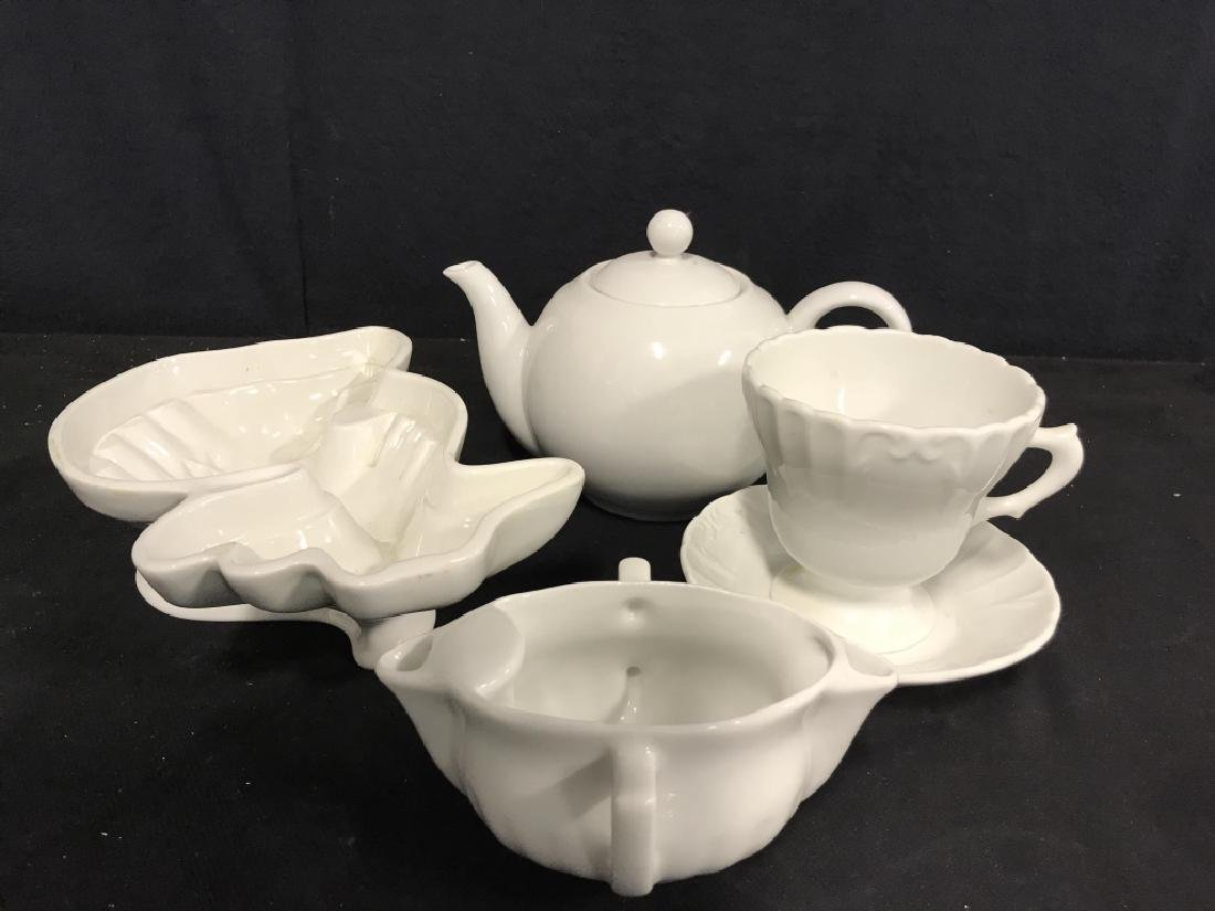 Lot 5 Assorted White Toned Porcelain Tabletop Acc.