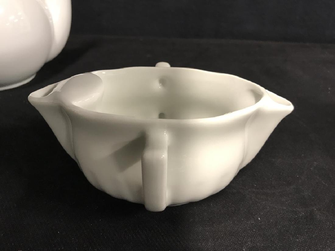 Lot 5 Assorted White Toned Porcelain Tabletop Acc. - 4
