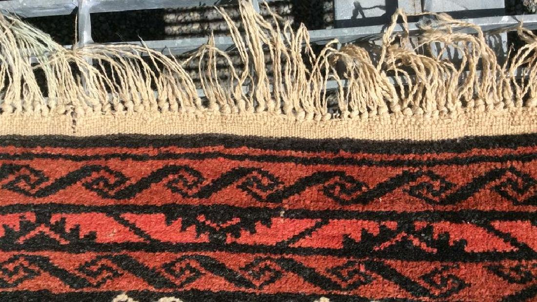 Antique Handmade Oriental Wool Rug W Fringes - 6