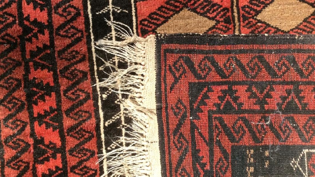 Antique Handmade Oriental Wool Rug W Fringes - 7