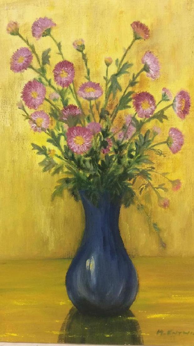 M ENTWISTLE Floral Painting On Canvas